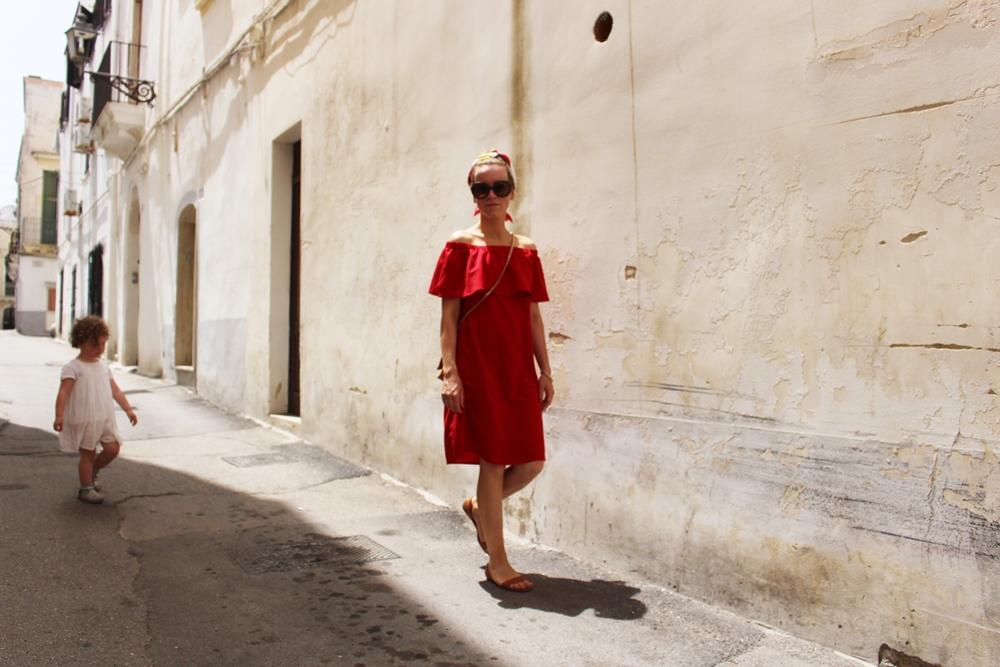 Costes Red Off Shoulder Dress (4)